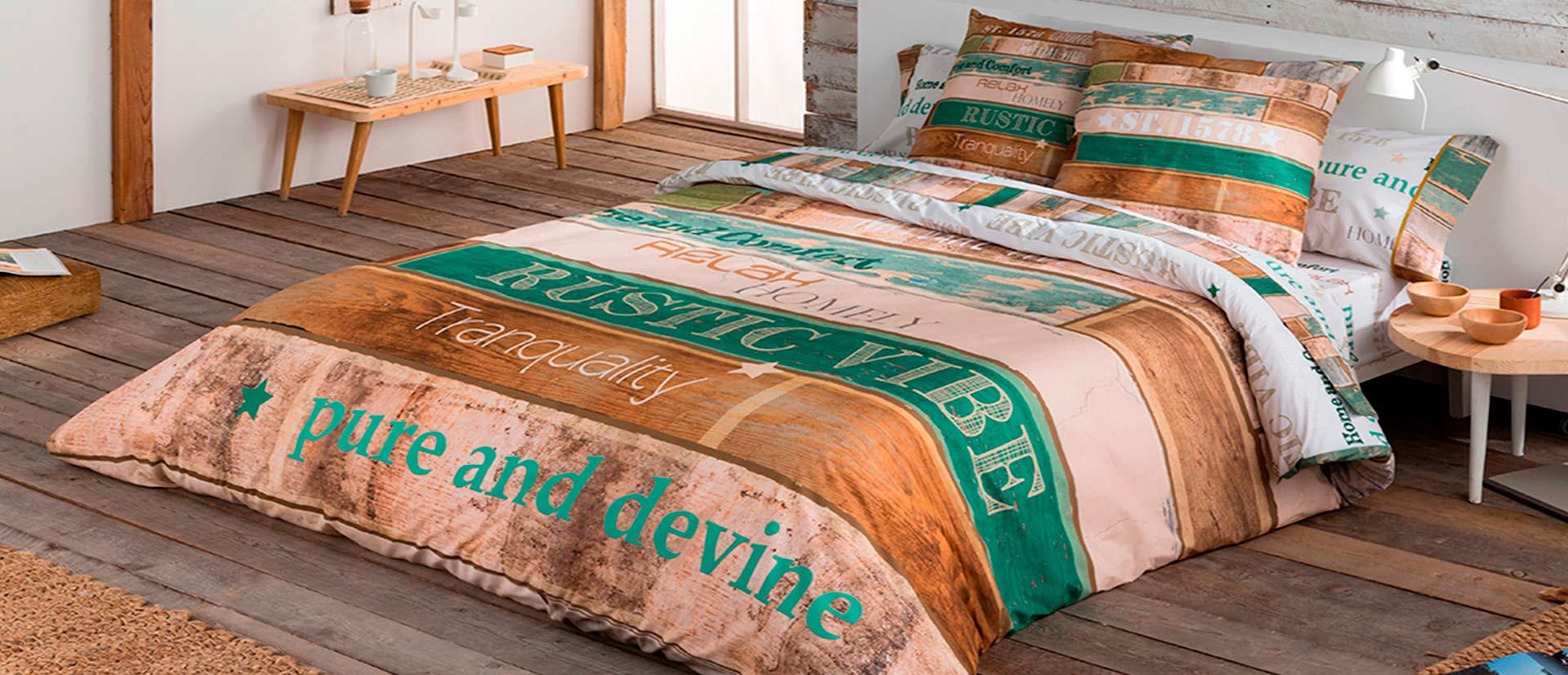 ropa de cama para habitacion rustica